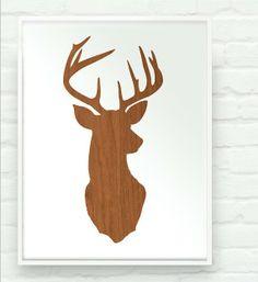 deer head silhouette by prettymod, etsy