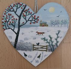 'Cold and Bright' - mixed media on a small wooden heart by Jo Grundy