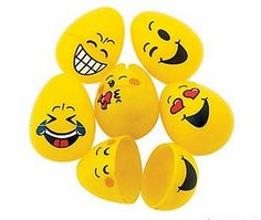 Set of 6 Emoji Easter Eggs, Measure 2.5 inches tall, Feature 6 different funny Emoji faces, Great for an easter egg hunt or kids gift to store bits and bobs.