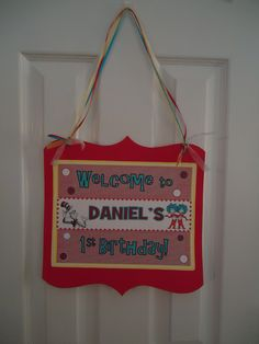 Dr. Seuss Inspired Hanging Welcome Sign