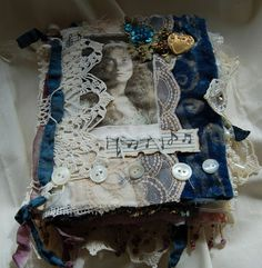 Zuzu's Petals 'n' Stuff: Fabric Book: vintage lace and calico. Journal Covers, Art Journal Pages, Junk Journal, Art Journaling, Journal Ideas, Book Covers, Altered Books, Altered Art, Homemade Journal