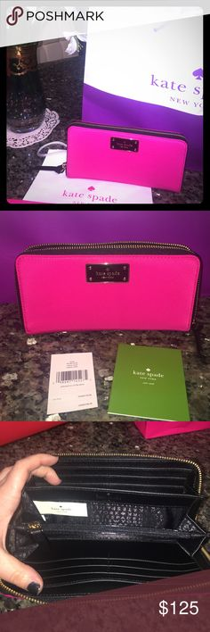 Hot Pink & Black Kate Spade Wallet Neda NWT Hot Pink FIERCE Kate Spade wallet! A must-have in every Diva's closet!! Brand new, never used, with tags, comes in original Kate Spade bag! kate spade Bags Wallets