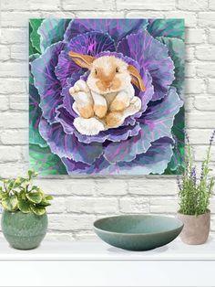 "#walldecorart baby bunny on cabbage giclee print on canvas with 11/2"" stretchers. #springart #bunnyart #gicleeprint #autism #autismawareness #bunnydecor #homedecor #kidsroomdecor #kidsroomart #nurserydecor #nurseryart #animalart"