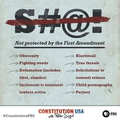 You may be surprised by what types of speech are not protected by the First Amendment. Learn more with CONSTITUTION USA with Peter Sagal. Teaching American History, Teaching History, History Classroom, School Classroom, Teaching Government, Social Studies Activities, School Days, Lesson Plans, How To Plan