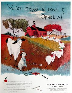 1951 Ophelia Lamb for St Marys blankets, from #RetroReveries