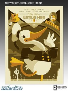 Sideshow Collectibles and Mondo are proud to present the Wise Little Hen Screen Print. F eaturing artwork by Tom Whalen, each piece is screen printed on 80 lb cream stock and measures 24 x 18 inches. Extremely limited to just 115 pieces worldwide, the Wise Little Hen Screen Print is an outstanding fine art piece to display in any collection.