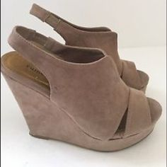 Chinese Laundry - Suede wedges ❌ no trades. ❌no PayPal. Stylish suede tan wedges. Really good condition. PRICE IS FIRM. Chinese Laundry Shoes