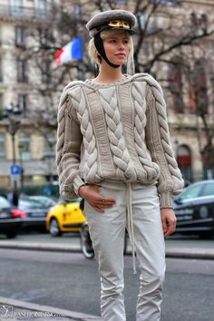 Elena Perminova in #Balenciaga, Tommy Hilfiger cable knit and Louis Vuitton #hat - more: http://www.fashionising.com/pictures/b--elena-perminova-plays-it-down-42385.html