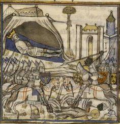 14th century / medieval tent ( manuscript : BNF Français 2606 Grandes Chroniques de France, Folio 319v, 1375-1400, France )