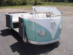 Convertible VW van. It looks like a vehicle you want to take to the drive in! #car, #VW, #convertible