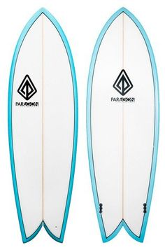 "Paragon Retro Fish 5'10"" White -Turquoise Rails Surfboard"