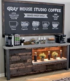 DIY Coffee Bar – Every detail of this DIY Project is fantastic! They wanted to bring a coffee shop atmosphere into their breakfast nook, so they built their own in-house coffee bar! Coffee Area, Coffee Nook, Coffee Bar Home, Home Coffee Stations, My Coffee, House Coffee, Office Coffee Station, Coffee Shops, Coffee Beans
