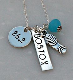 Marathon Necklace  Hand Stamped Necklace  by 3LittlePixiesShoppe