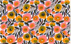 Marimekko Rosarium heavy duty canvas fabric, half yard, new print by Aino-Maija Metsola, wide, Finland Motifs Textiles, Textile Patterns, Floral Patterns, Marimekko Fabric, Orange Poppy, Orange Yellow, Flower Pattern Design, African Textiles, Japanese Patterns