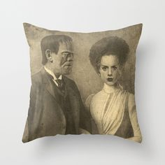 Mr. and Mrs. Frankenstein  Throw Pillow