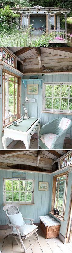 A Retro Style Shed. I like the nice aqua color of the interior