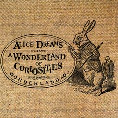 conejo arpillera Rabbit with Watch Alice in Wonderland of Curiousities Digital Image Download Sheet Transfer To Pillows Totes Tea Towels Burlap No. 2274