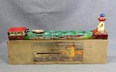 1930s PREWAR GERMAN ARNOLD BOAT SHIP LIGHTHOUSE WIND UP LITHO TIN TOY BOX WORKS