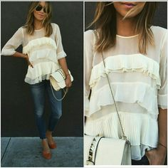 White round neck cascading ruffle loose blouse Short sleeve, tiered, closes in the back with a button. FINAL PRICE!! Tops Blouses