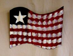 Recycled Corrugated METAL FLAG by theowlsnestofnc on Etsy, $18.00