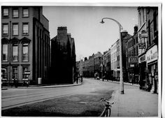 Harcourt Street, from St Stephen's Green West, looking south. Dublin Street, Dublin City, Saint Stephen, City Council, Old Photos, Ireland, Buildings, Lost, Black And White