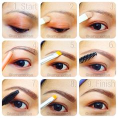 My 1st eyebrow tutorial, yg byk direquest temen2  This is how to get the '3D Embroidery Eyebrow' look ala me    1⃣2⃣3⃣ I start by applying concealer all over the whole eye and brow area.. 4⃣ Outline the top and bottom with  brow pencil in light strokes 5⃣ Fill in the gap with dark brown eye shadow 6⃣ Brush the brow upwards 7⃣ Set it with brow gel or mascara 8⃣ clean up with the same concealer then blend it out 9⃣ Voila! now you have the '3D embroidery brow look alike' hahaha