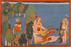 """Sita in the Forest Grove (left); Rama and Lakshmana Stricken (right), Folio from the """"Shangri"""" Ramayana (Adventures of Rama) India, Jammu and Kashmir, Bahu, circa 1700-1710"""