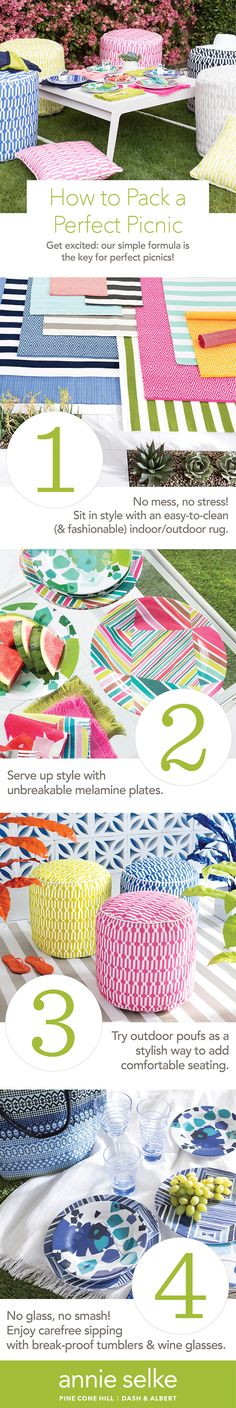 In preparation for your outdoor summer feasts, we're sharing tips for packing the perfect picnic. Click through to see our-must have supplies for a fun, stylish, and stress-free picnic.