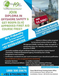 GWG is offering national diploma course in offshore safety at exciting price.  http://greenwgroup.co.in/training-courses/diploma-in-offshore-safety/  #diplomacourseinoffshoresafety