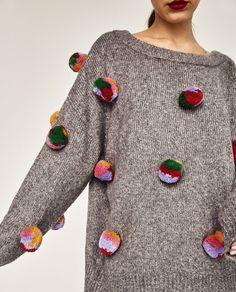 OVERSIZED POMPOMS SWEATER-Sweaters-KNITWEAR-WOMAN | ZARA United States