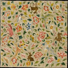 Textile with Animals, Birds, and Flowers, late 12th–14th century. Eastern Central Asia. The Metropolitan Museum of Art, New York. Rogers Fund, 1988 (1988.296)