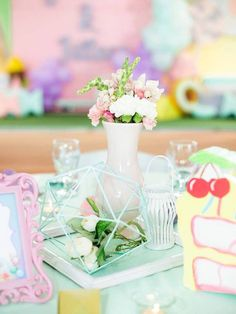 Jillian and Jilleen's Sweet Shoppe Themed Party – Birthday Purple Table, Ice Cream Candy, Party Needs, Wonderland Party, Host A Party, Paper Lanterns, Party Photos, Candyland, Mini Cupcakes
