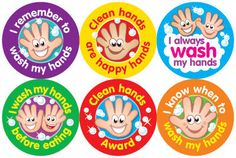 Promote good hygiene for children. Encourage children to wash their hands with this colourful set of stickers. Sticker size: 6 mixed designs 240 stickers per pack Ref: Price FREE UK DELIVERY ex VAT) All About Me Preschool, Preschool Art, Hand Washing Technique, Hand Washing Poster, Motor Skills Activities, Toddler Activities, Hand Sticker, Kindergarten, School Labels