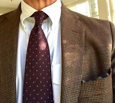 Brown tweed jacket, white OCBD, dark red tie