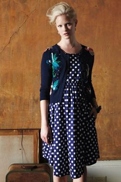 #Anthropologie Dixie Dot Dress and Floriography Cardigan