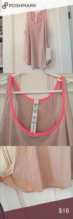 "Lululemon ""Sport Singlet"" Tank NWT Brand new lululemon light pink tank with neon trim. Perfect for hiking, yoga, running, etc! lululemon athletica Tops Tank Tops"