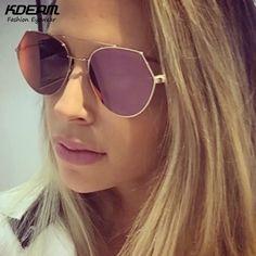 High-Chic FF Eyeline Aviator Sunglasses Women Flat Rose Gold Sun Glasses Girl Reflective Sunglass With Original Box KD063