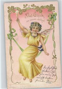 Engel mit einem Sektglas sitzt auf der Schaukel , litho
