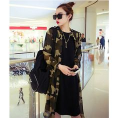 2016 New Fashion New Fashion Women Long Sleeve Turndown Collar Camouflage Color Casual Loose Chiffon Tops Blouse with Belt #Affiliate