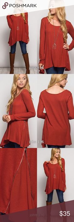 Perfect long sleeve tops In love with this long sleeve top made of amazing soft material. Has adorable side zippers & chiffon contrast detail. Top is 100% polyester knit and detailed sides are 70% cotton 30% rayon. Price is firm✔️ fits true to size Tops