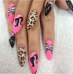 pink and black barbie nails and bow with leopard print nail design Sexy Nails, Hot Nails, Pink Nails, Hair And Nails, Fabulous Nails, Gorgeous Nails, Pretty Nails, Beautiful Nail Designs, Cute Nail Designs
