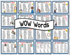 "This file consists of 14 WOW Word Posters, 2 Character Word Posters, one poster for Time Transition Words (for Narratives) and one poster for Transition Words (for Information and Argument Texts).  <a href=""https://www.teacherspayteachers.com/Product/Synonyms-Posters-WOW-Words-for-Juniors-2967537"">A VERSION OF WOW WORDS FOR YOUNGER STUDENTS IS AVAILABLE THROUGH THIS LINK</a>  <a href=""https://www.teacherspayteachers.co..."