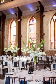 Shades of blue adorned this sweet, elegant, southern wedding reception at the Brooklyn Arts Center. Florals by Beautiful Flowers by June. Photo: The Story Creative