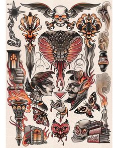 ⚡ flash sheet by ⚡ jackson will be tattooing saturday Traditional Tattoo Painting, Traditional Tattoo Design, Traditional Tattoo Flash, Tatto Old, Tattoo For Son, Tattoo Small, Doodle Tattoo, Tattoo Motive, Arm Tattoo