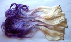 Purple Dip Dye Hair | Purple and Blonde Ombre Fade Dip Dye Clip in Human Hair Extensions Set ...