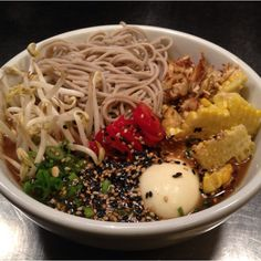 Chef's Dinner Special - Spicy Chicken Noodle: Mungbean, soba, soft boiled egg.