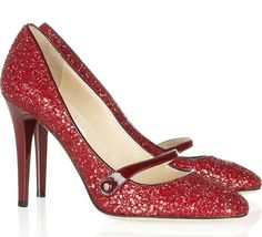 Jimmy Choo 'Trust' red glitter Mary Janes