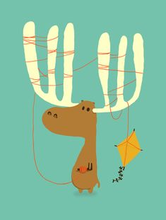 A-moose-ing Art Print - a failed attempt at kite-flying for this adorable moose.