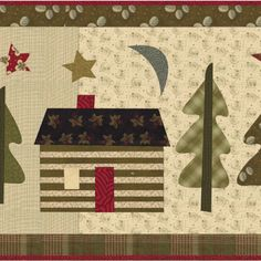 Little Cabin in the Big Woods, a little (30 by 20) quilt by Jan Patek.  I could see making four of these, one for each season, and combing them into one big quilt.