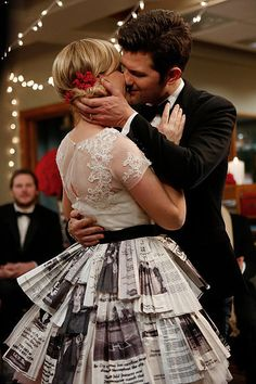 Parks and Recreation: Aw, true love! Leslie and Ben (Adam Scott) celebrate their unconventional wedding.